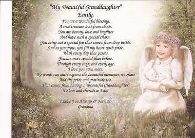 """My Beautiful Granddaughter"" Personalized Poem- Unique Gift for B-day, Christmas"