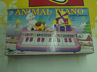 Vintage 80'S Baby 7 Note Mini Animal Piano Battery Operated Mib