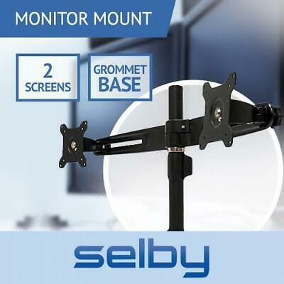 """Up to 24"""" 12kg Dual 2 LCD Screen Monitor Desktop Stand with Grommet Base VESA"""