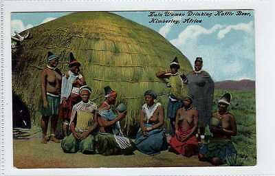 (Lw462-388)  Zulu Women Drinking Kaffir Beer, Kimberley S.A. Unused G-VG
