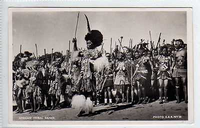 (Lx194-388) Real Photo, Zulu, African Tribal Dance, Unused VG-EX