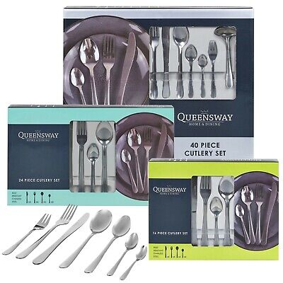 16, 24 or 40 Piece Stylish Kitchen Stainless Steel Cutlery Set Tableware Dining