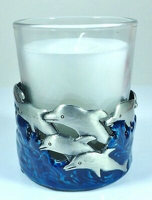 Dolphin Lovers Solid Pewter Single Candle- Votive Holder