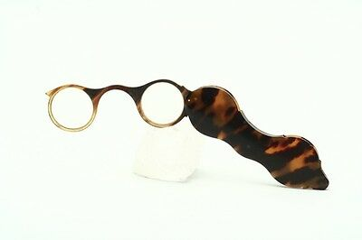 Antique round reading horn lorgnette in amberbrown cover, for Collectors    -N73