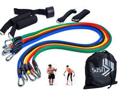 11 Pcs Exercise Resistance Bands Set For Yoga Abs Fitness Pilates Workout Gym