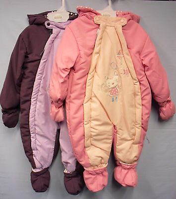 Baby Babies Girls All in One Padded Snow Suit Snowsuit Romper Cat Kitten