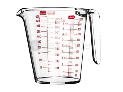 New 1 Litre Clear Plastic Multi Purpose Measuring Pouring Jug Container