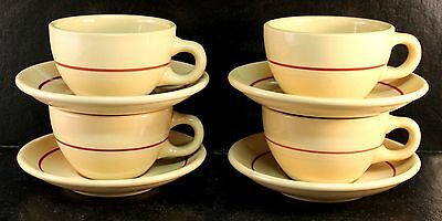 FOUR (4) Shenango Inca Ware Cups & Saucers Tan Red/Maroon Ring 1952 Mid Century