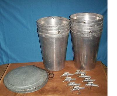 2 MAPLE SYRUP Aluminum Sap Buckets + Lids OLD COVERS + TAPS Spiles Spouts W@W