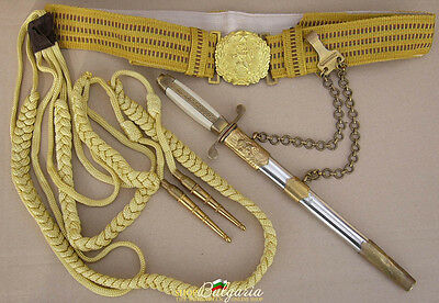 FULL SET Bulgarian Parade Officer dagger + belt and aglets GREAT CONDITION