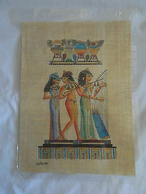 """Egyptian Papyrus Paper Painting Three Musicians 9X13"""""""