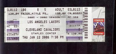 Los Angeles Lakers vs Cleveland Caviliers Ticket 1-12-06 EX (Sku-60403)