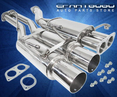 For 89-94 Nissan 240Sx S13 Dual Muffler Stainless Steel Catback Exhaust System