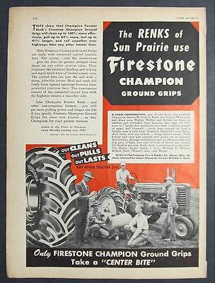 Orig 1947  Firestone Ad Photo Endorsement  THE RENKS OF SUN PRAIRE WISC 8 by 11