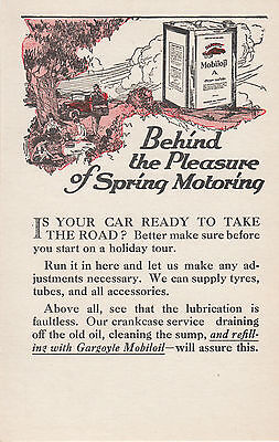 GARGOYLE MOBIL Oil Australia 1920s advertising postcard Spring Motoring