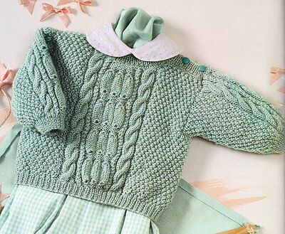 Cable & Moss Stitch Baby Sweater 3 - 24 months DK Knitting Pattern