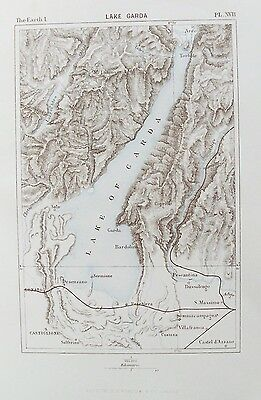 OLD ANTIQUE MAP LAKE GARDA ITALY MOUNTAINS c1880's by VIRTUE PRINTED COLOUR