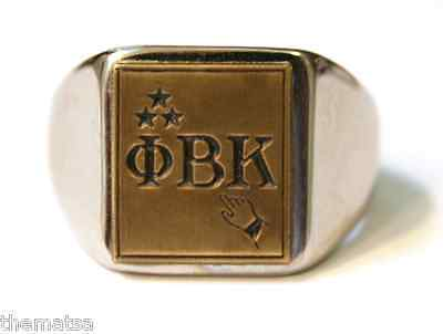 PHI BETA KAPPA FRATERNITY MEMBER STAINLESS STEEL SILVER RING ALL SIZES