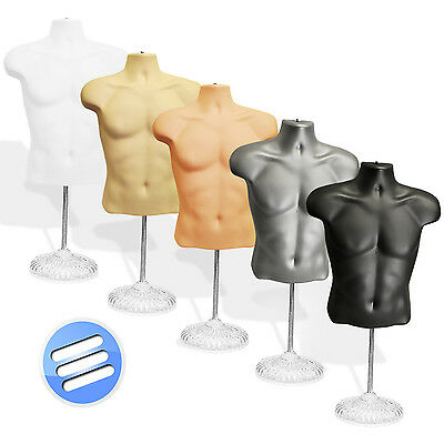 Half Male Body Form Torso Dummy Display Bust Mannequin wth Stand/ Base: 5 opt