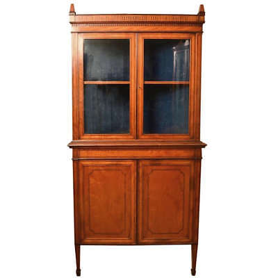 Antique English Edwardian Satinwood Corner Cabinet c.1890