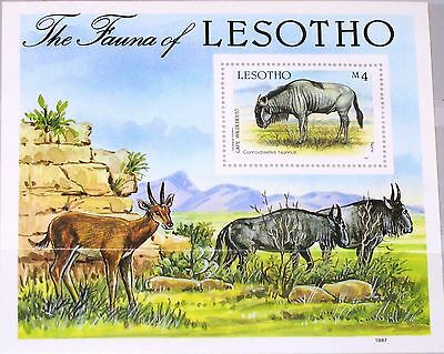LESOTHO 1987 Block 42 S/S 592 local Fauna Flora Animals Tiere Streifengnu MNH