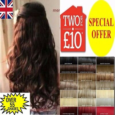 Hair Extensions Long 24 inch clip in real high quality Copper Red Plum Black Ash