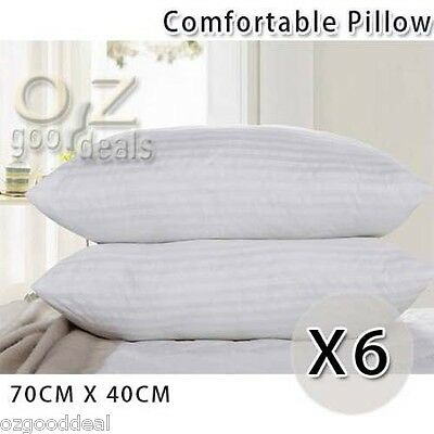 New 6x Comfy Fluffy High Density White Bed Pillow Cushion 10cm Standard 70x40cm