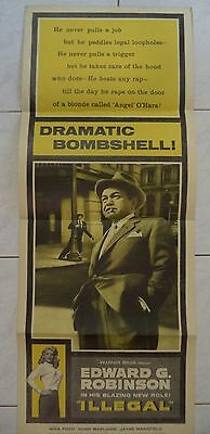 "ILLEGAL 1955 US INSERT POSTER 36""x14"" EDWARD G. ROBINSON"