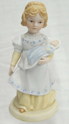 """Vintage Avon Porcelain Figurine A Mother's Love 1981 5.5"""" Woman Holding Baby"""