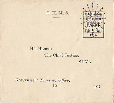 Stamp Fiji 1800's By Aurthority Government Print Office Frank Chief Justice