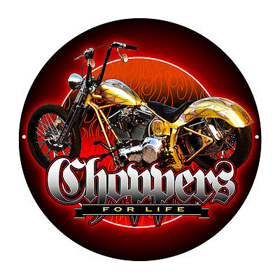 CHOPPERS  CUSTOM CHOPPER MOTOR CYCLE    ROUND  TIN SIGN  35cm Diameter