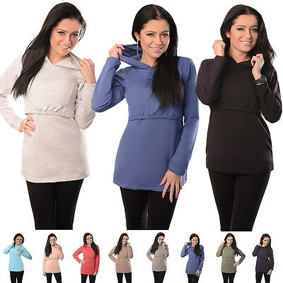 New Discreet Soft Nursing Breastfeeding Hoodie Top Size 8 10 12 14 16 18 - 9051