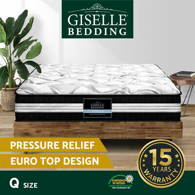 Giselle Bedding Mattress QUEEN Size Bed Euro Top Pocket Spring Firm Foam 30CM