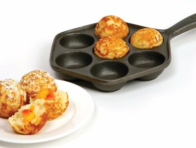 Norpro 3114 Deluxe Danish Aebleskiver Pan Cast Iron Makes 7 Filled Pastries