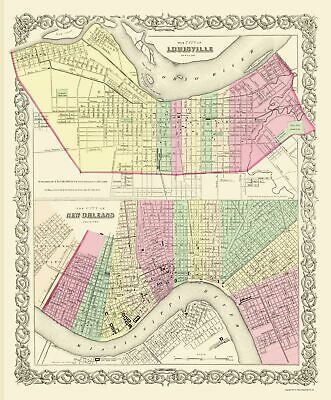 Louisville and New Orleans - Colton 1857 - 23 x 27.81