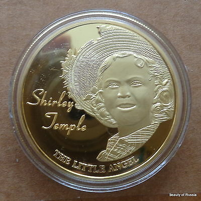 Shirley Temple A LITTLE ANGLE 1 oz .gold plated Commemorative COIN