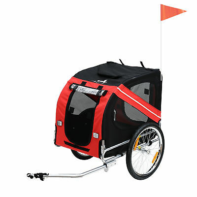 PawHut Pet Dog Bike Bicycle Trailer Carrier with Hitch High Quality Red/Black