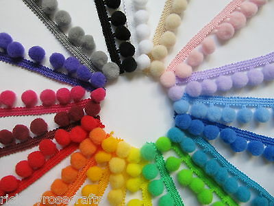 MEDIUM POM POM TRIM 10mm Bobbles PER METRE or REEL Top Quality Pompom Fringe