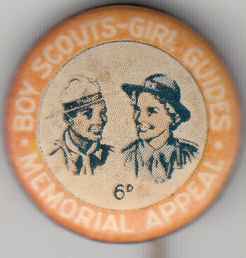 Boy Scouts Girl Guides 6d memorial appeal Australia 22mm tin badge, uncommon