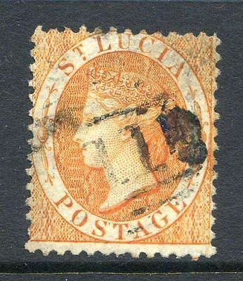 St. Lucia 1864/76 1/- pale orange watermark Crown CC, used (2014/02/12#7)