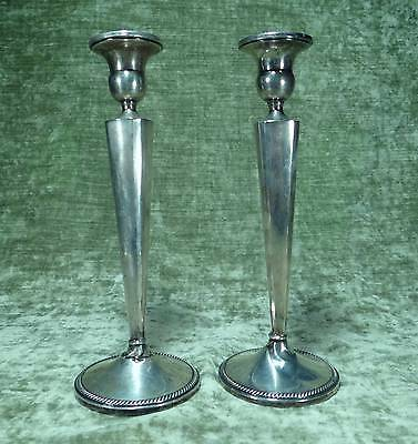 PAIR OF TALL STERLING SILVER WEIGHTED CANDLESTICKS CANDLE HOLDERS 10""