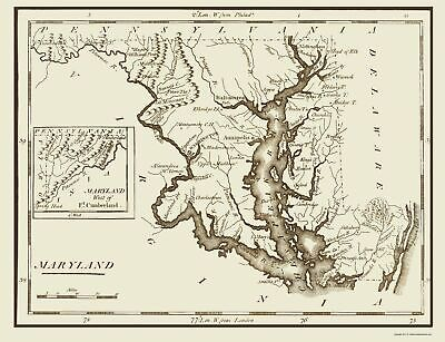Old State Map - Maryland - Lewis 1797 - 23 x 29.94