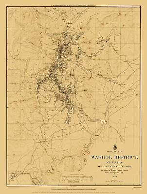 Old Mining Map - Washoe District outline, Comstock Lode Nevada 1879 - 23 x 30