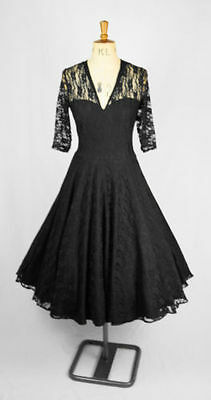 9ccc7cd64a Baylis   Knight Black Lace Sweetheart CIRCLE Flared Skirt Dress 50 s ...