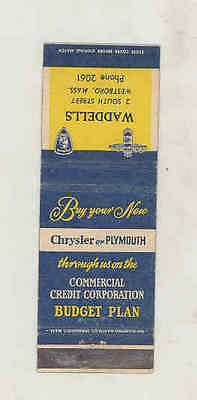 1940's Waddells Chrysler Plymouth Automobile Matchbook Cover Westboro MA mb3140