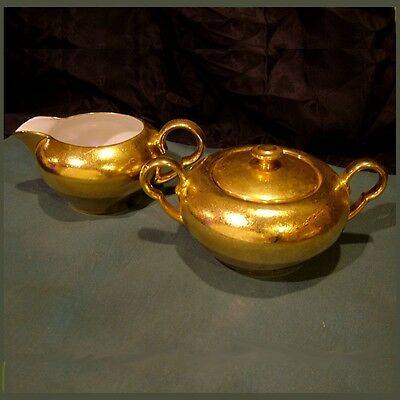 "Puls Bavarian Sugar & Creamer Set ~ Entire Gold Covering Complete ~ 6.5"" ~Luster"