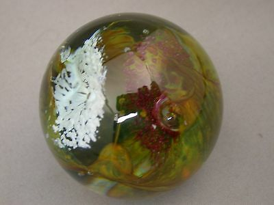 Stunning Signed Studio Made Paperweight Dated 1978 Sea Surge Controlled Bubble