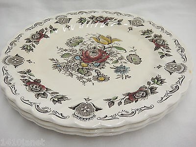 """Vintage Myotts Bouquet 3 Dinner Plates 10"""" Crazing Discolored Staffordshire"""