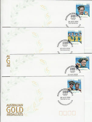 Stamps Australia 2004 Olympic Games set 17 gold medallists Parramatta postmark