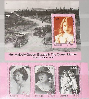 LESOTHO 1990 843-45 Block 73 776a 777 90th Birthday Queen Mother Royals MNH